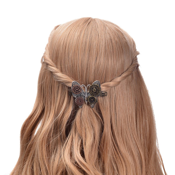 Steampunk Butterfly Hair Clip With Gears
