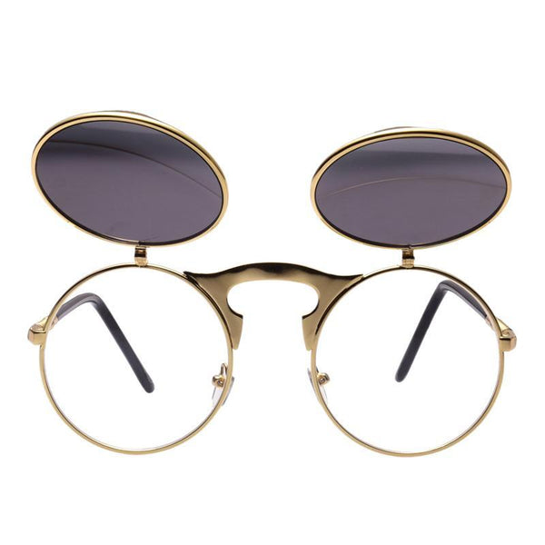 Steampunk Round Flip-Up Sunglasses