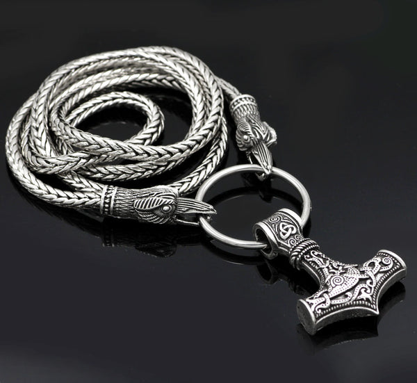 Odin's Ravens Hold Thor's Hammer Viking Necklace
