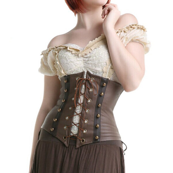 Steampunk Leather Underbust Corset