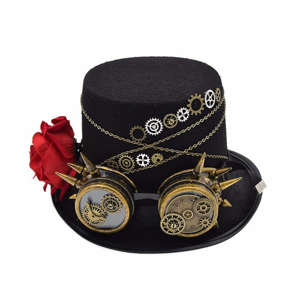 This is a black hat with a bronze coloured goggles. the goggles are decorated with gears and mechanisms. it has a red rose on the side of her hat. bronze chains are circling the hat.