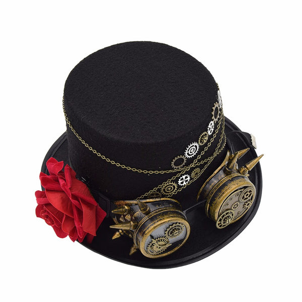Black Steampunk Hat With Gears & Goggles