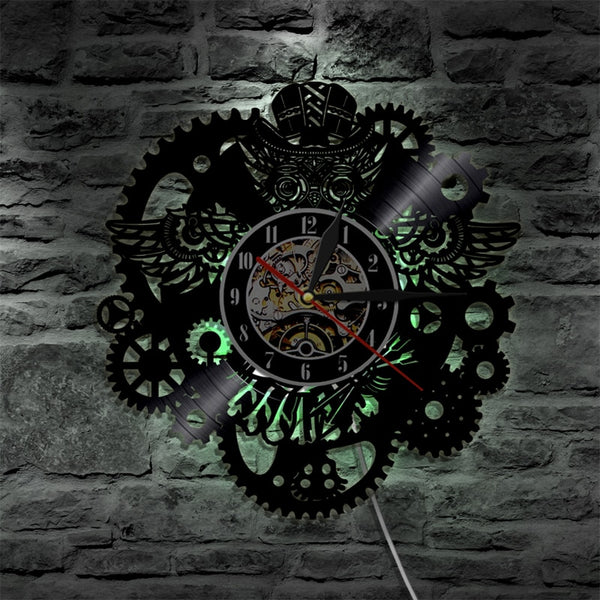 Steampunk Decorative Wall Clock with LED Lights