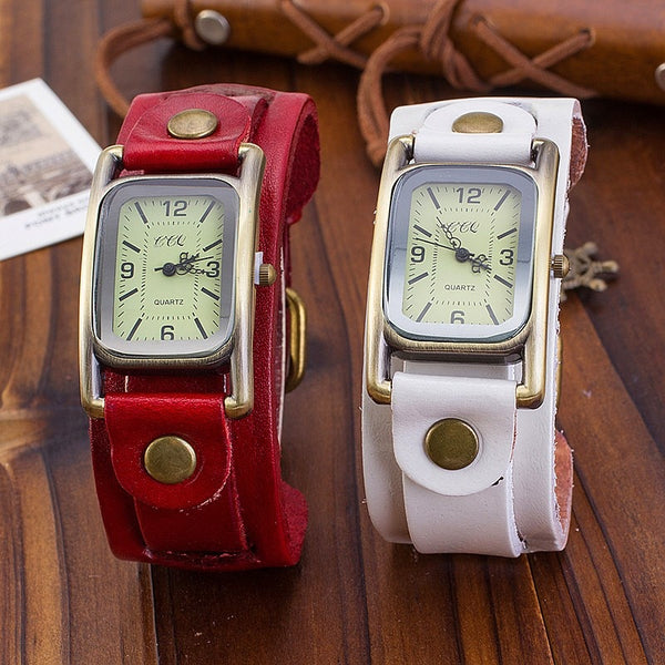 Steampunk Vintage Leather Bracelet Quartz Wrist Watch
