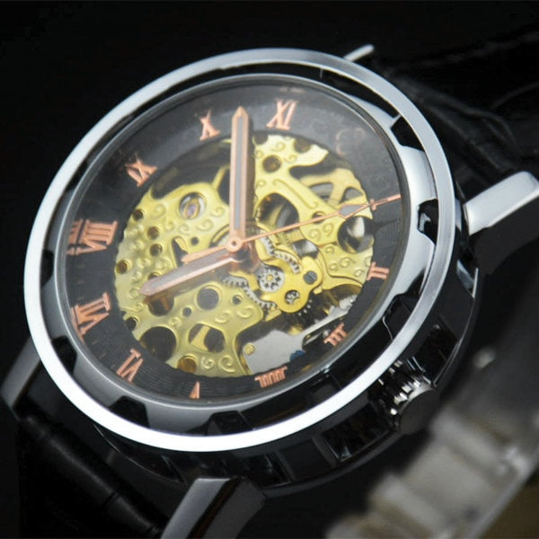 Men Skeleton Steampunk Automatic Wrist Watch