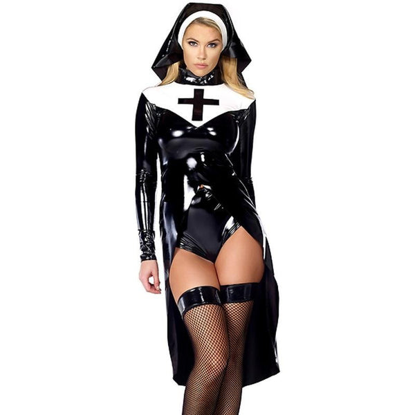 Nun Costume Sexy Women's Saintlike Seductress Halloween Costume With Vinyl Top Panty and Headpiece