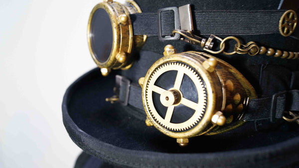 Steampunk Hand Made Vintage Wool Hat with Gears and Goggles