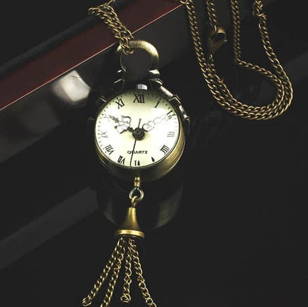 Steampunk Vintage Glass Pocket Watch and Necklace