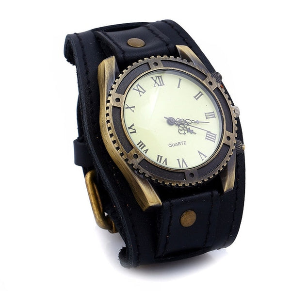 Steampunk Roman Dial Vintage Leather Wrist Watch