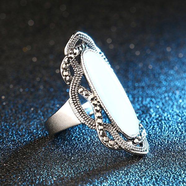 Steampunk Vintage White Opal & Gray Crystals Ring