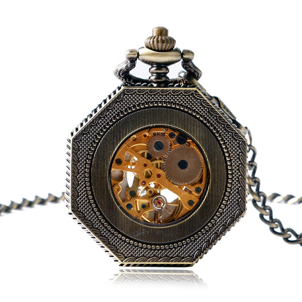 Steampunk Vintage Octagon Mechanical Pocket Watch with Roman Numbers