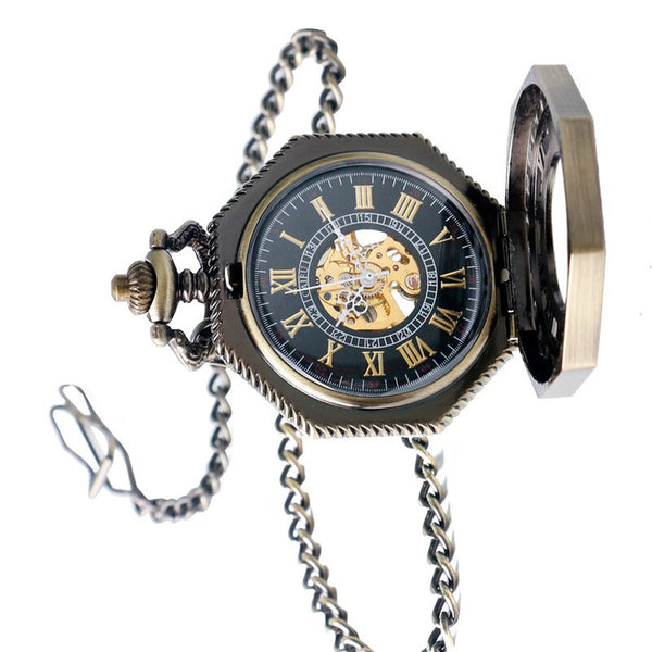 Steampunk Vintage Pocket Watch, Octagon Roman Numbers Mechanical Pocket Watch for Men, Hollow Hand Wind Pocket Watch Gift