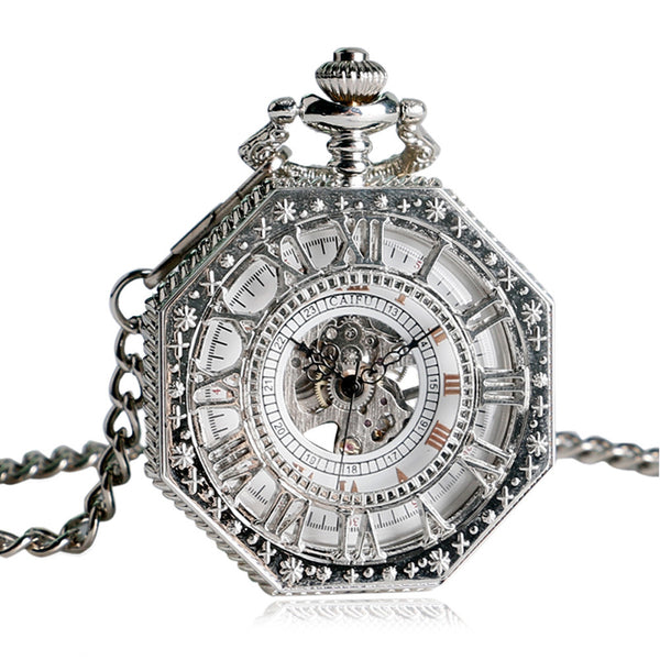 Steampunk Vintage Pocket Watch, Hand Winding Mechanical Pocket Watch for Men, Silver Octagon Shape Skeleton Pocket Watch Gift