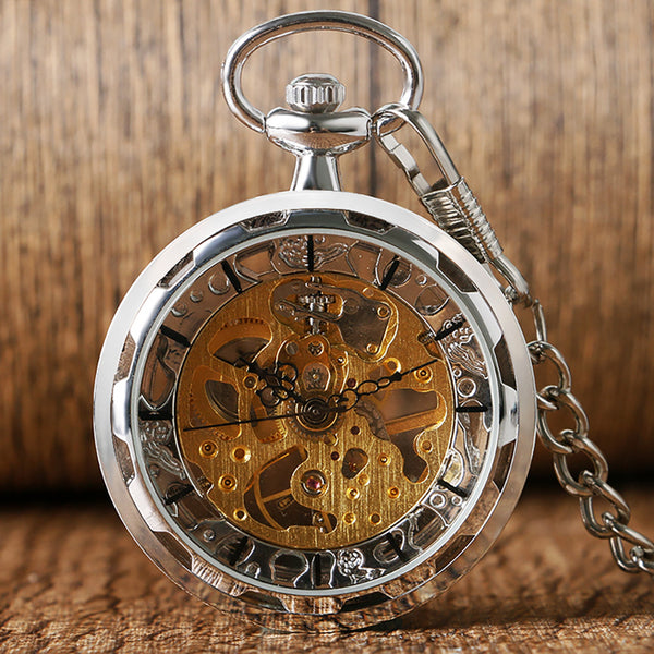 Steampunk Golden Skeleton Pocket Watch