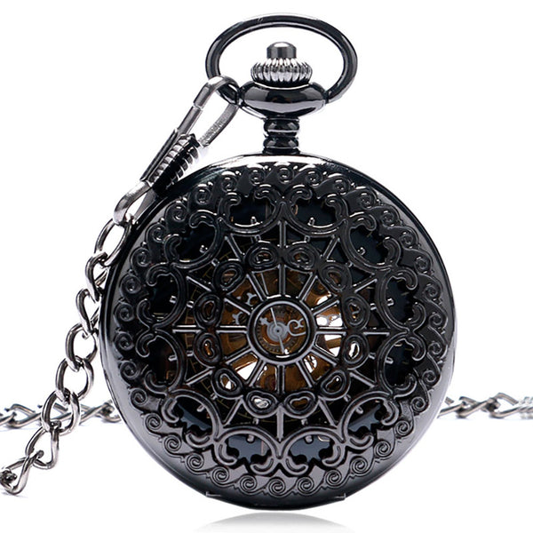 Black Hollow Carved Steampunk  Mechanical Pocket Watch