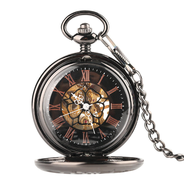 Steampunk Retro Pocket Watch, Steampunk Gear Skeleton Mechanical Hand Winding Pocket Watch, Creative Hollow Pocket Watch