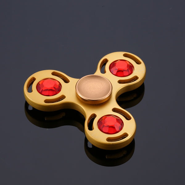 Steampunk Gold & Red Stone Triangle Fidget Spinner