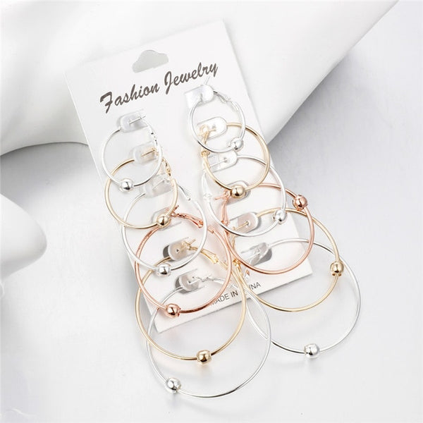 6 Pairs/Set Gold Silver Small Big Circle Hoop Earrings for Women Steampunk Round Earring Sets