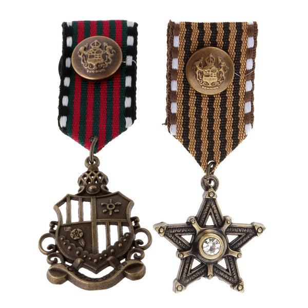 2 Pcs Steampunk Vintage Medal Badges