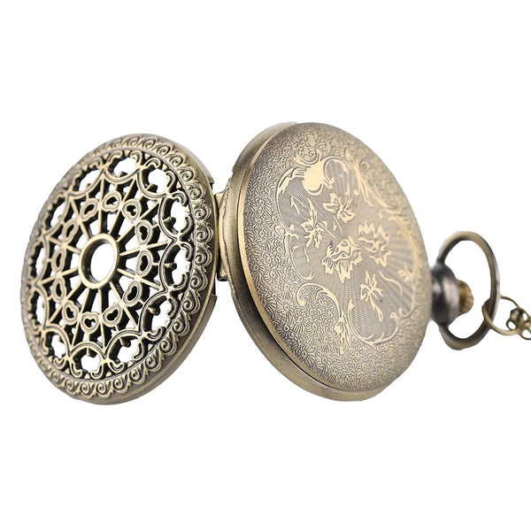 Steampunk Hollow Bronze Vintage Pocket Watch with Chain