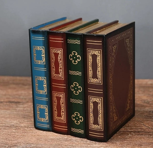 Steampunk Vintage Wooden Books Shape Box