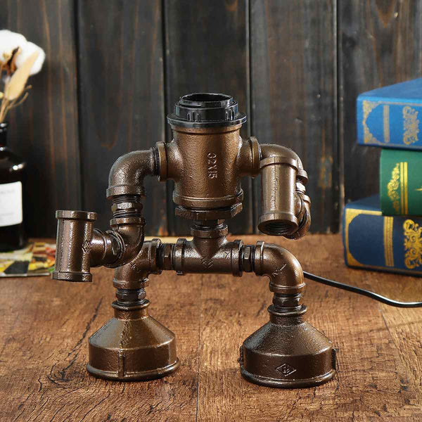 Industrial Steampunk Robot Pipe Light Table Lamp