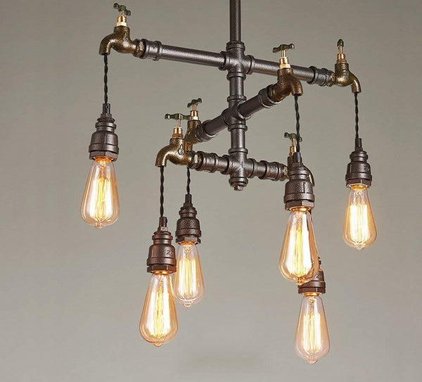 Industrial Wrought Iron Light Steampunk Water Pipe Lamp
