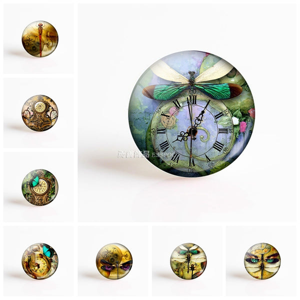 Steampunk Butterfly Dragonfly Art Picture Round Glass
