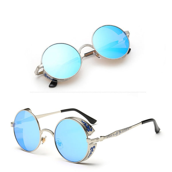 Round Steampunk Carved Frame Sunglasses