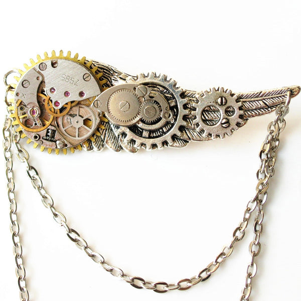 Steampunk Chain Brooch With Wings