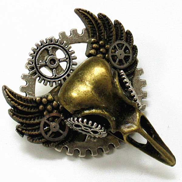Bird Skull Steampunk Brooch