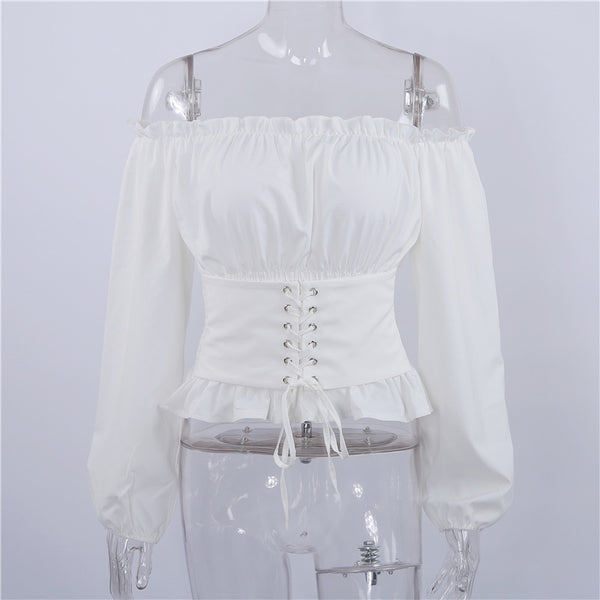 Steampunk Long Sleeve Off Shoulder Blouse With Corset