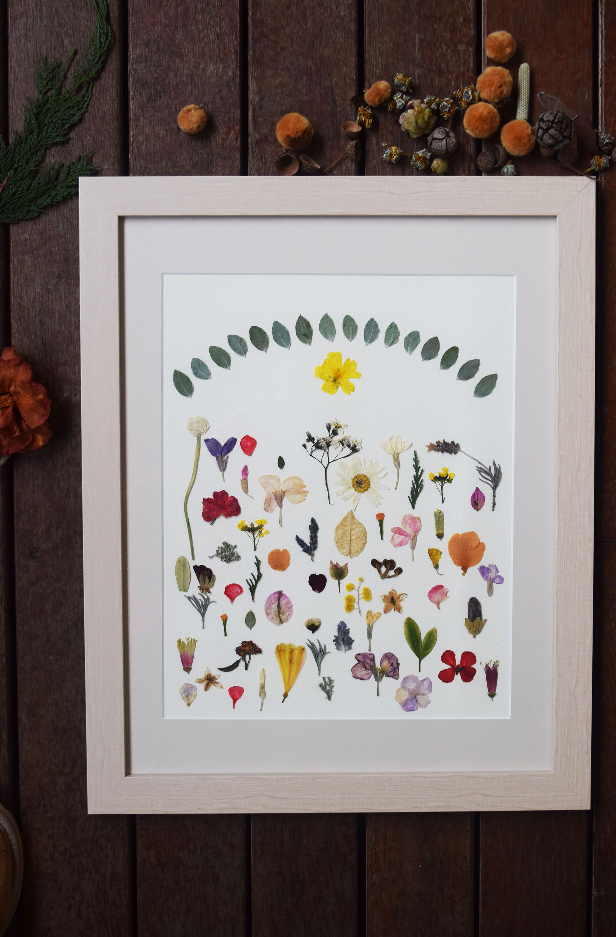 """Eden"" FRAMED HANDMADE PRESSED FLOWER ART 14X18"" - laflorproject"