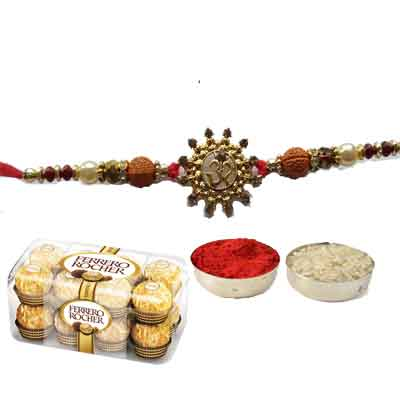 Beautiful Rakhi  With Ferrero Rocher & 1 Pack of Roli & Chawal