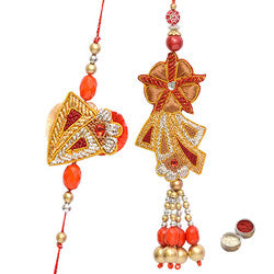 2 Pcs Rakhi Set for Bhaiya, Bhabhi