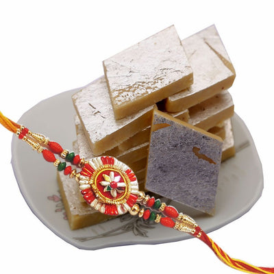 One Rakhi 250 Gms Kaju Katli 1 Pack of Roli & Chawal