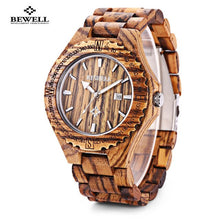 Load image into Gallery viewer, BEWELL Mens Wooden Waterproof Quartz Watches