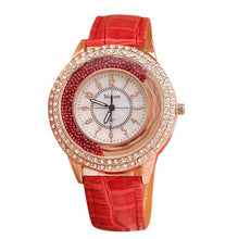 Load image into Gallery viewer, Stunning Rhinestone Ladies Leather Watch