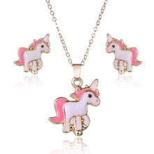 Load image into Gallery viewer, Kids Unicorn Necklace Earring Jewellery Set For Girls