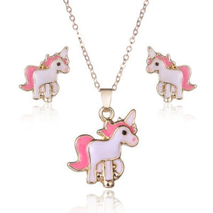 Kids Unicorn Necklace Earring Jewellery Set For Girls