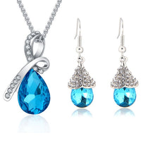 Load image into Gallery viewer, Austrian Crystal Jewellery Sets | Water Drop Necklace Pendant | Earrings | Bracelet