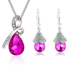 Austrian Crystal Jewellery Sets | Water Drop Necklace Pendant | Earrings | Bracelet