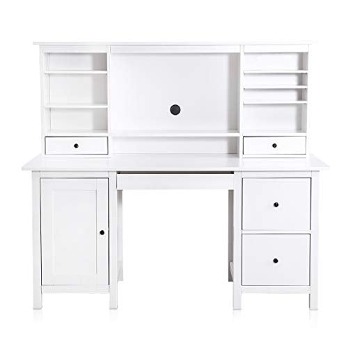 ZDZDZ Home Office Computer Desk - with Hutch Writing Desk with Drawers Book  Shelf White