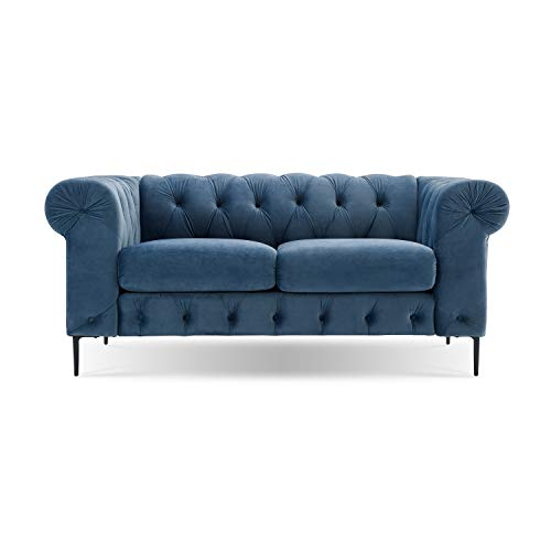 Incredible Velvet Loveseat Sofa With Rolled Arms French Blue Kiku Home Andrewgaddart Wooden Chair Designs For Living Room Andrewgaddartcom
