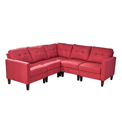 Christopher Knight Home 305592 Marsh Mid Century Modern Sectional Sofa Set,  Red, Dark Brown