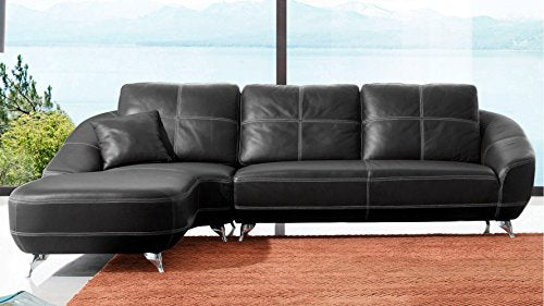 Zuri Furniture Modern Black Leather Lucy Sectional Left Chaise