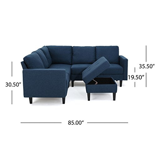 Enjoyable Christopher Knight Home 300117 Carolina Dark Blue Fabric Sectional Couch With Storage Ottoman Sofa Andrewgaddart Wooden Chair Designs For Living Room Andrewgaddartcom