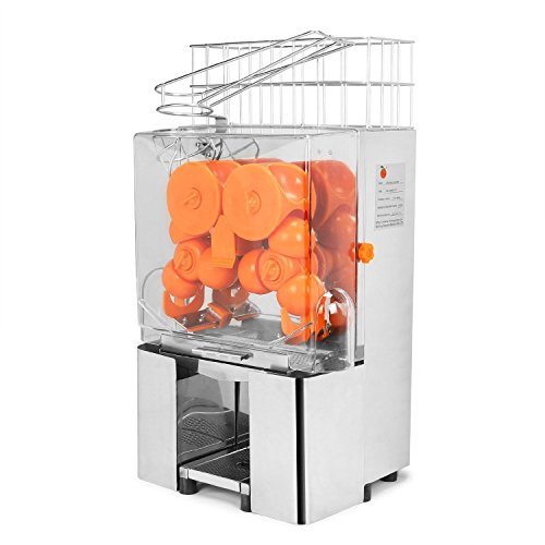 Vevor Commercial Orange Juicer 120w Auto Feed Orange Juicer Squeezer Orange Juice Machine Squeeze 20 22 Oranges Per Mins Stainless Steel Silver