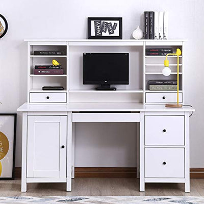 Zdzdz Home Office Computer Desk With Hutch Writing Desk With Drawers Book Shelf White