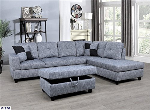 Outstanding Beverly Fine Furniture F127B Right Facing Linen Russes Sectional Sofa Set With Ottoman Grey Squirreltailoven Fun Painted Chair Ideas Images Squirreltailovenorg